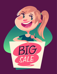 Girl with a big sale banner. Vector illustration.