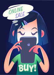 Girl is searching online sale. Vector illustration.