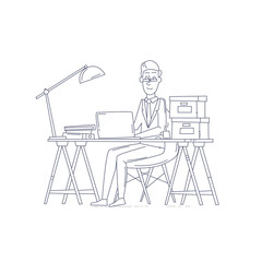 Thin line man sitting at the table and working on the computer. Business, office work, workplace. Flat design vector illustration.