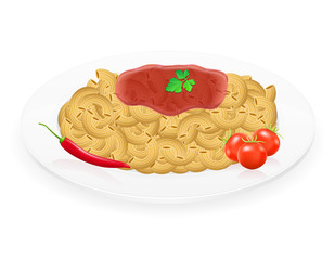 pasta on a plate with vegetables vector illustration