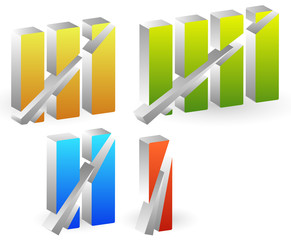 Colorful roman numbers, roman numerals with strike through lines