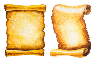 set of old scrolls isolated on white. hand painted watercolor