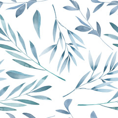 Seamless floral pattern with the watercolor green leaves on the branches, hand drawn on a white background