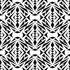 Vector seamless texture. Black and white tribal geometric pattern. Aztec ornamental style