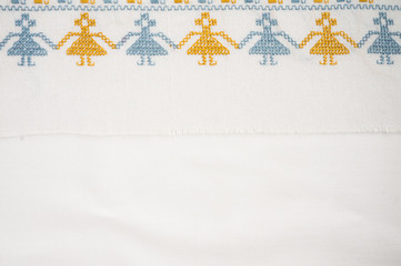 Linen cloth with hand embroidery