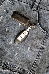 smart car key over girl jeans - instargram color tone