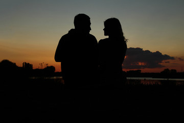 silhouette of a couple in love