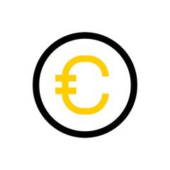 Euro  coin, money line icon.