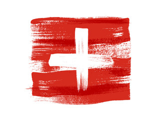 Switzerland colorful brush strokes painted flag.