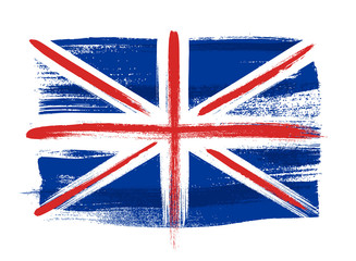 Great Britain colorful brush strokes painted flag.