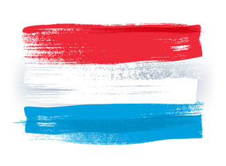 Luxembourg colorful brush strokes painted flag.