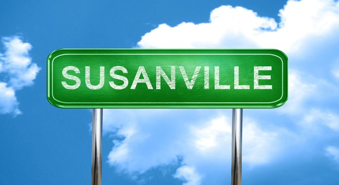 susanville vintage green road sign with highlights