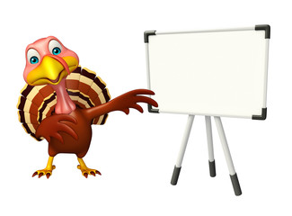cute Turkey cartoon character with display board
