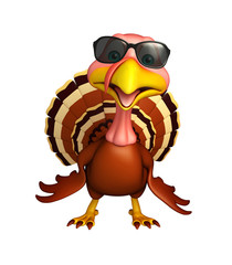 fun Turkey  cartoon character  with sunglass