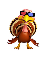 fun Turkey  cartoon character with 3D gogal