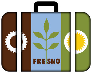Flag of Fresno, California. Suitcase icon, travel and transportation concept