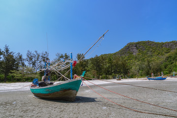 Fishing boats at the Gulf of Laem Sala beach  Prachuap Khiri Kha