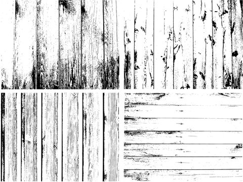 Wooden Planks distress overlay texture pack. Vector Grunge fence from  boards
