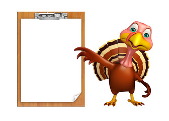 cute Turkey cartoon character with exam pad
