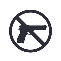 no guns sign with pistol, gun silhouette, no weapons allowed, vector illustration