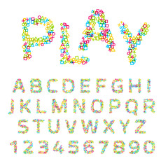 Vector font made of geometric shapes.