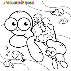 Underwater sea turtles coloring book page