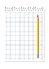 Notebook. Chequered sheet of paper and yellow pencil on  white background. Vector illustration