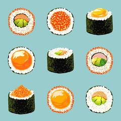 Sushi set.  Food blue background. Vector illustration