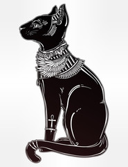 Illustration of a black Egyptian cat.