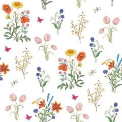 Tulip, dandelion, cornflower, delicate flower, vector pattern. wildflowers, poppy, chamomile, background