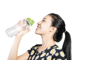 Woman drinking water on white background 1
