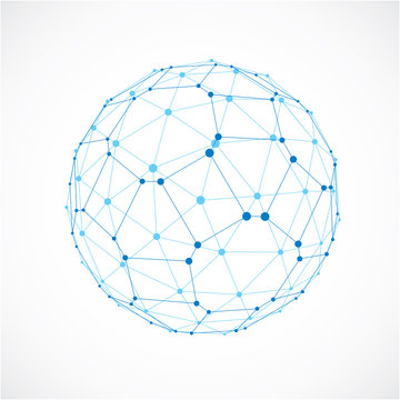3d vector digital wireframe spherical object made using facets.