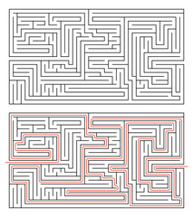 Rectangular maze of medium complexity on white and solution with red path