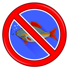 Fishing Prohibited Sign Isolated