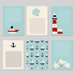 Set of printable cards in nautical style. Cute Vector Cards, Stickers, Labels, Notes and Tags. Template for notebooks, diary, decals, school accessories.
