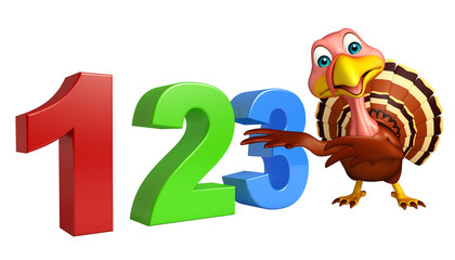cute Turkey cartoon character with 123 sign