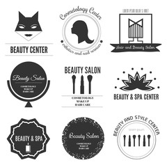 Set of modern beauty and spa logo templates. Labels and badges made in vector. Beauty salon, Cosmetology, Spa logotypes.  Vector design elements, business signs, logos, , labels, badges.