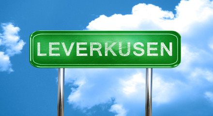 Leverkusen vintage green road sign with highlights
