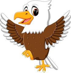 illustration of cute eagle cartoon