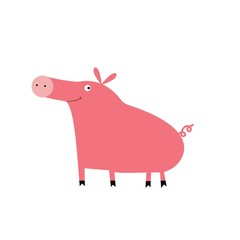 Cartoon vector pig illustration. Cute farm animal.