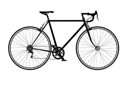 Classic mens town, road bike silhouette, detailed vector illustration