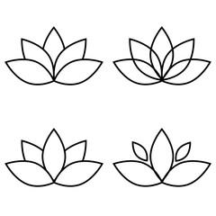 Lotus flower black set element vector