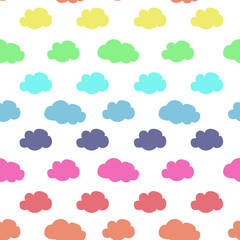 rainbow colored cloud pattern seamless vector