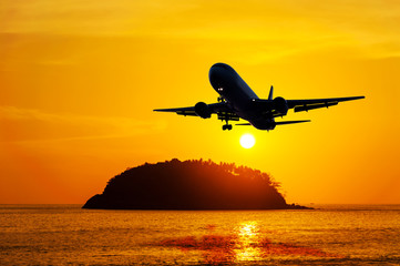 Airplane with seascape