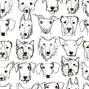 Cartoon vector seamless pattern with dog heads.