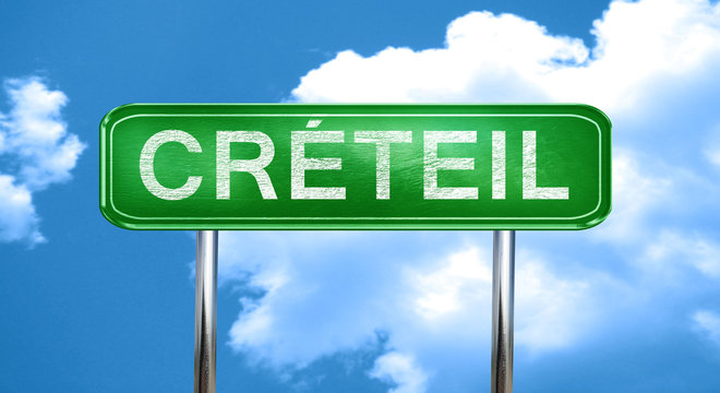 creteil vintage green road sign with highlights