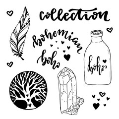 Vector set of  Boho Style elements. Vector illustration with hand drawn hippie collection. Coloring book page.
