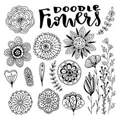 Flowers vector decorations set. Hand drawn vector illustration with creative doodle flowers. Vector set for coloring page and design decoration.