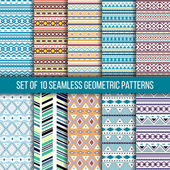 Set of 10 seamless ethnic tribal geometric patterns. Aztec boho ornamental style. Ethnic, native american, indian ornaments. Vecror.