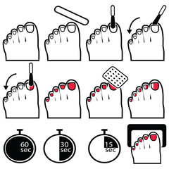 Pedicure gel and hybrid  nails preparation process, lacquer up, and protection process under uv and led lamp icon set in black and white and red